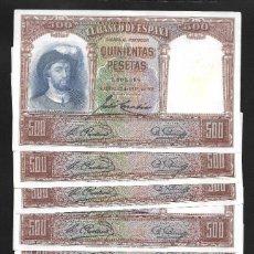 Billetes españoles: 10 BILLETES CORRELATIVOS 500 PESETAS 1931 SIN SERIE EBC. Lote 194687460