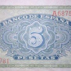 Billetes españoles: 5 PESETAS 1940 SERIE A, SIN CIRCULAR/PLANCHA. Lote 194756173
