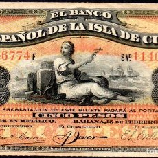 Billetes españoles: CUBA : 5 PESOS DEL BANCO ESPAÑOL DE LA HABANA 1897 EBC FECHA MUY RARA. Lote 194875945