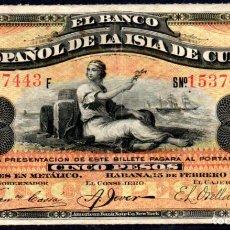 Billetes españoles: CUBA : 5 PESOS DEL BANCO ESPAÑOL DE LA HABANA 189BC/MBC+ FECHA MUY RARA. Lote 194876077
