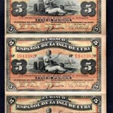Billetes españoles: CUBA : TIRA DE 5 BILLETES UNIDOS DE 5 PESOS DEL BANCO ESPAÑOL DE LA HABANA 1897 S/C - FECHA MUY RARA. Lote 194876297