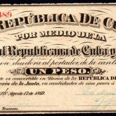 Billetes españoles: CUBA Y PUERTO RICO: 1 PESO 1869 EBC/EBC+ PICK 61 EPOCA COLONIAL ESPAÑOLA. Lote 194877580