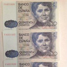 Billetes españoles: LOTE TRES BILLETES CORRELATIVOS 500 PESETAS AÑO 1979 NUEVOS. Lote 194895252