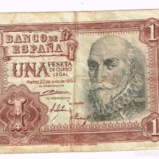 Billetes españoles: BILLETE 1 PESETA DE CURSO LEGAL - 22-JULIO-1953. CON Nº DE SERIE. Lote 194939086