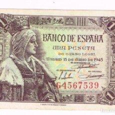 Billetes españoles: BILLETE 1 PESETA DE CURSO LEGAL - 15-JULIO-1945. CON Nº DE SERIE. Lote 194939162