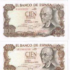Billetes españoles: TRES BILLETES DE 100 PESETAS. MANUEL DE FALLA - 17-11-1970. Lote 194939315