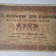 Billetes españoles: BILLETE 100 PESETAS 1938 MBC++/EBC- ****PAGO SOLO PAYPAL****. Lote 194951392