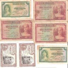 Billetes españoles: LOTE DE 10 BILLETES DE ESPAÑA DE 1,5 10 PESETAS MUY CIRCULADOS 1935-1953. Lote 194989821