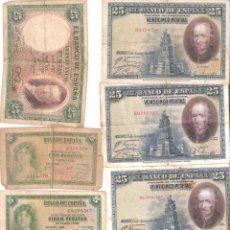 Billetes españoles: LOTE DE 8 BILLETES DE ESPAÑA DE 5 25 PESETAS MUY CIRCULADOS 1928- 1931-1935. Lote 194989908