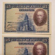 Billetes españoles: PAREJA BILLETES 25 PESETAS 1928 CALDERÓN DE LA BARCA SERIE A. Lote 195026422