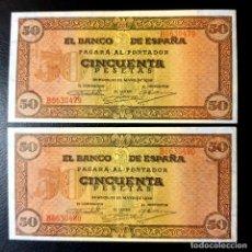 Billetes españoles: PAREJA BILLETES 50 PESETAS 1938 BURGOS. Lote 195027595