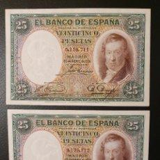 Billetes españoles: PAREJA 25 PESETAS 1931 VICENTE LOPEZ. Lote 195027882