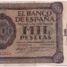 Billetes españoles: BILLETE 1000 PESETAS, BANCO DE ESPAÑA, EMISIÓN DE BURGOS, 21 DE NOVIEMBRE, 1936. Lote 195031687