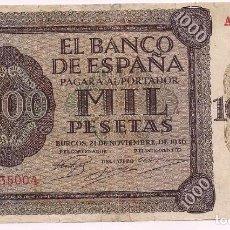 Billetes españoles: BILLETE 1000 PESETAS, BANCO DE ESPAÑA, EMISIÓN DE BURGOS, 21 DE NOVIEMBRE, 1936. Lote 195031773