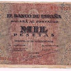 Billetes españoles: BILLETE 1000 PESETAS, BANCO DE ESPAÑA, EMISIÓN DE BURGOS, 20 DE MAYO DE 1938. Lote 195032816