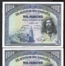 Billetes españoles: PAREJA CORRELATIVA 1000 PESETAS 1928 SIN SERIE S/C. Lote 195036887