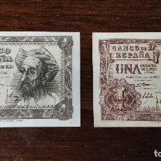 Billetes españoles: 2 BILLETES DE 1 PESETA . SIN CIRCULAR. Lote 195137236