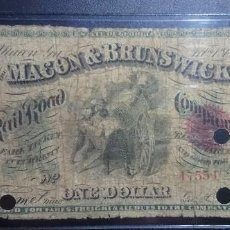 Billetes españoles: DOLAR 1867 $1 DOLLAR USA MACON BRUNSWICK RAIL ROAD CO(GEORGIA) UNITED STATES ***PAGO SOLO PAYPAL****. Lote 195145487