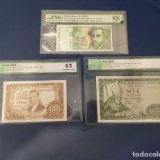 Billetes españoles: EXCLUSIVO LOTE BILLETES PESETAS CERTIFICADOS PMG E ICG SIN CIRCULAR UNC. Lote 195165003
