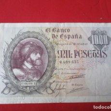 Billetes españoles: BILLETE DE 1000 PTS. 21 DE OCTUBRE DE 1940. SIN SERIE. #SG. Lote 195165501