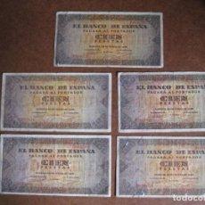 Billetes españoles: LOTE 5 BILLETES DE 100 PESETAS - BURGOS 1938. Lote 195169250