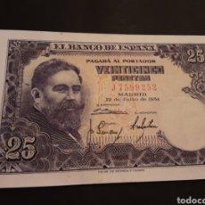 Billetes españoles: BILLETE 25 PESETAS ESPAÑA ESTADO ESPAÑOL 22 DE JULIO DE 1954 SIN CIRCULAR. Lote 195241495