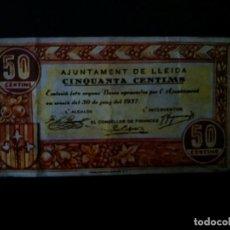 Billetes españoles: BILLETE DE 50 CÉNTIMOS DE 1937 .AJUNTAMENT DE LLEIDA . GUERRA CIVIL . ....ES EL DE LAS FOTOS. Lote 195247068