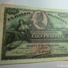Billetes españoles: CIEN PESETAS DE 1907,( MUY BUEN ESTADO) 3.327.545. Lote 195247135
