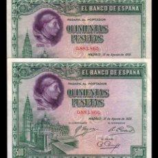 Billetes españoles: ESPAÑA SPAIN PAREJA 500 PESETAS CARDENAL CISNEROS 1928 PICK 77 MBC VF. Lote 195260196