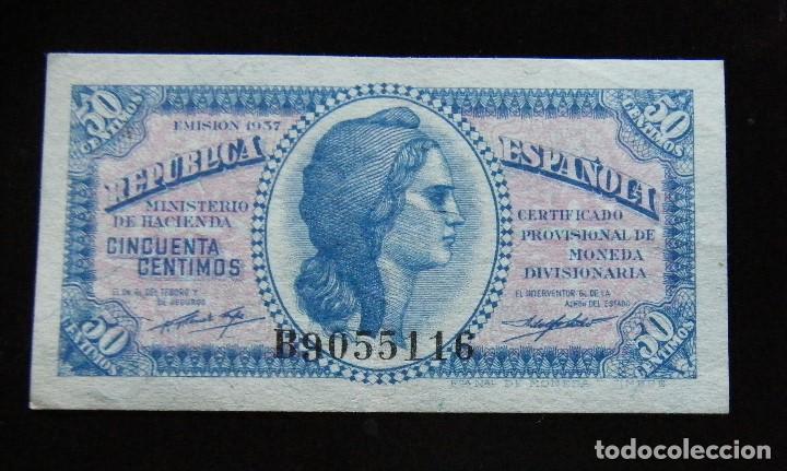 II REPUBLICA BILLETE DE 50 CTMOS. 1937 (Numismática - Notafilia - Billetes Españoles)
