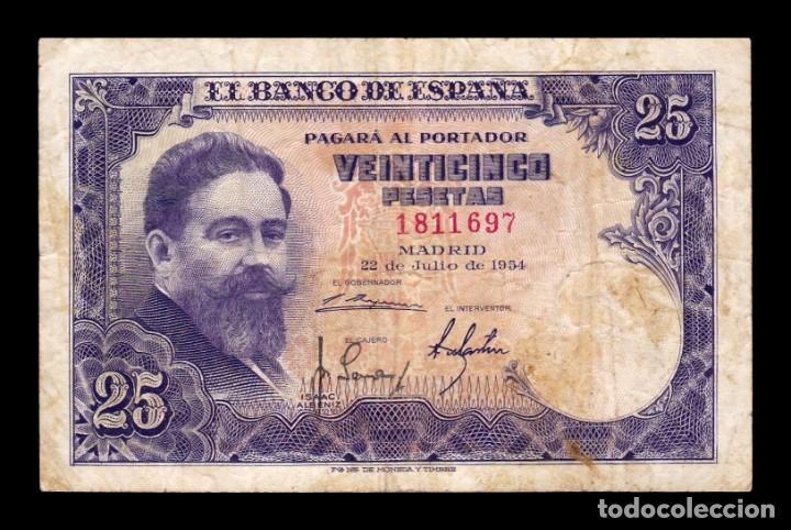 ESPAÑA SPAIN 25 PESETAS ISAAC ALBENIZ 1954 PICK 147 SIN SERIE BC+ F+ (Numismática - Notafilia - Billetes Españoles)