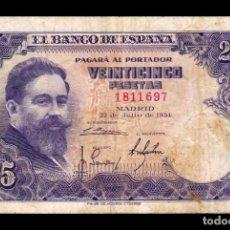 Billetes españoles: ESPAÑA SPAIN 25 PESETAS ISAAC ALBENIZ 1954 PICK 147 SIN SERIE BC+ F+. Lote 195303550