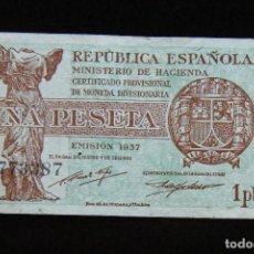 Billetes españoles: II REPUBLICA BILLETE DE 1 PESETA 1937 . Lote 195303602