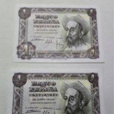Billetes españoles: PAREJA CORRELATIVA SIN CIRCULAR BILLETE 1 PESETA 1951 SC/SC- ***PAGO SOLO PAYPAL****. Lote 195303707