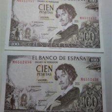 Billetes españoles: PAREJA CORRELATIVA SIN CIRCULAR BILLETE 100 PESETAS 1965 SC-/EBC++ ***PAGO SOLO PAYPAL****. Lote 195303962