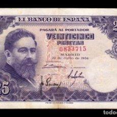 Billetes españoles: ESPAÑA SPAIN 25 PESETAS ISAAC ALBENIZ 1954 PICK 147 SIN SERIE MBC VF. Lote 195304055