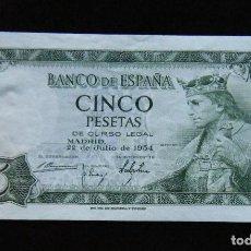 Billetes españoles: ESPAÑA BILLETE DE 5 PESETAS 1954 SC . Lote 195304115