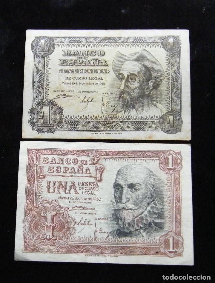 ESPAÑA LOTE DE 2 BILLETES DE 1 PESETA 1951-1953 (Numismática - Notafilia - Billetes Españoles)