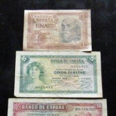 Billetes españoles: ESPAÑA LOTE DE 3 BILLETES DE 1-5-10 PESETAS. Lote 195305743