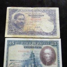 Billetes españoles: ESPAÑA LOTE DE 2 BILLETES DE 25 PESETAS 1925-1954. Lote 195305893