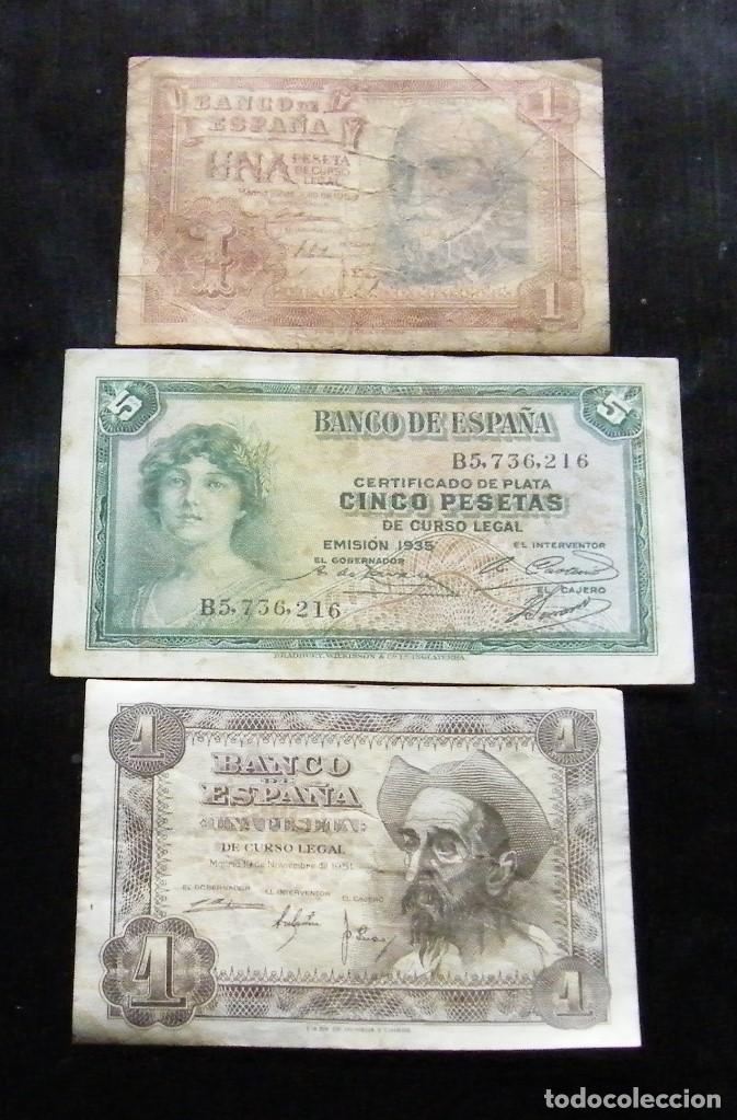 ESPAÑA LOTE DE 3 BILLETES DE 1-1-5 PESETAS (Numismática - Notafilia - Billetes Españoles)