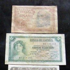 Billetes españoles: ESPAÑA LOTE DE 3 BILLETES DE 1-1-5 PESETAS. Lote 195306062