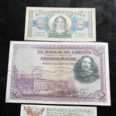 Billetes españoles: ESPAÑA LOTE DE 3 BILLETES DE 1-2-50 PESETAS. Lote 195306351