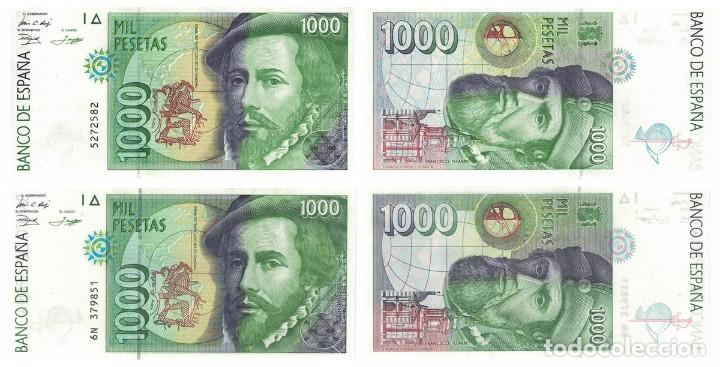 1000 PESETAS 1992 2 BILLETES SIN SERIE Y SERIE 6N SIN CIRCULAR PLANCHA (Numismática - Notafilia - Billetes Españoles)