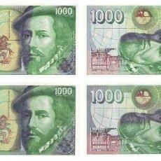 Billetes españoles: 1000 PESETAS 1992 2 BILLETES SIN SERIE Y SERIE 6N SIN CIRCULAR PLANCHA. Lote 195315487