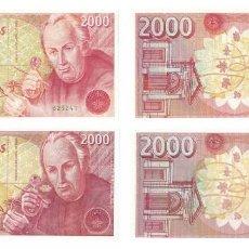 Billetes españoles: 2000 PESETAS 1992 LAS DOS VARIEDADES, SIN SERIE Y SERIE 1V SIN CIRCULAR PLANCHA. Lote 195316537