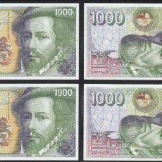 Billetes españoles: PAREJA CORRELATIVA DE 1000 PESETAS DE 1992 SERIE ESPECIAL 9B, SIN CIRCULAR/PLANCHA. Lote 195355261