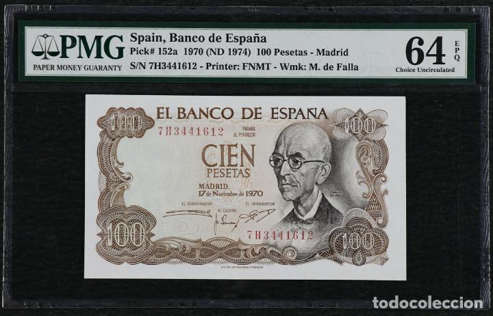 1970 ESPAÑA BANCO DE ESPAÑA 100 PESETAS PICK 152A PMG 64 EPQ SIN CIRCULAR (Numismática - Notafilia - Billetes Españoles)