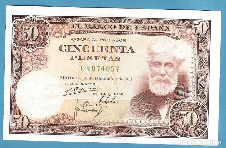 ESPAÑA. BILLETE DE 50 PESETAS 1951. SERIE C. RUSIÑOL (Numismática - Notafilia - Billetes Españoles)