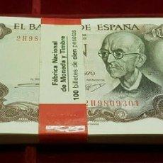 Billetes españoles: ESPAÑA TACO 100 BILLETES 100 PESETAS 1970 PICK 152 SC UNC. Lote 195371946